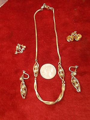 Matching Set Of Old Vtg Art Deco Era Gold Filled Necklace, Earrings + 2 X Pairs