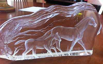 Crystal Frosted Horses Paperweight