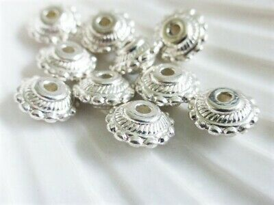 25 x Antique Silver Round Spacer Beads Aztec Pattern 7mm x 3mm LF NF CF