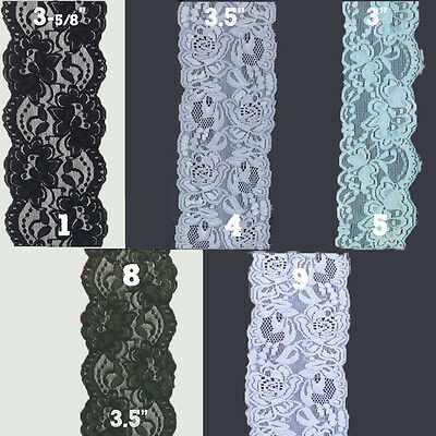 7inch//175mm Stunning Black Floral Design Double Edge Stretch Flat Lace Trim