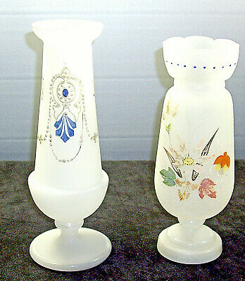 2  excellent Bristol hand painted  glass vases both in great condition