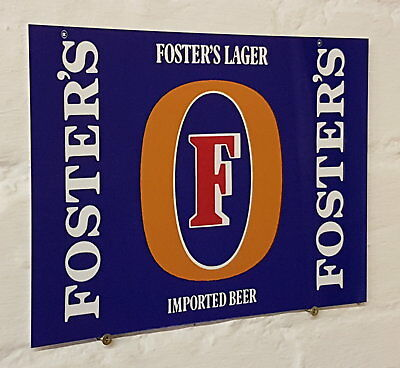 Fosters Larger Retro metal Aluminium Sign vintage bar pub man cave beer signs