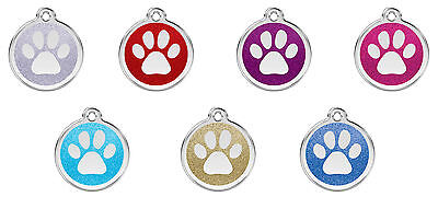 Engraved Personalised Dog / Cat ID Tags / Disc Glitter Paw Print Red Dingo (XPP)
