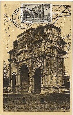 Carte-maximum France n° 389 - L 'Arc de triomphe d'orange (26188)