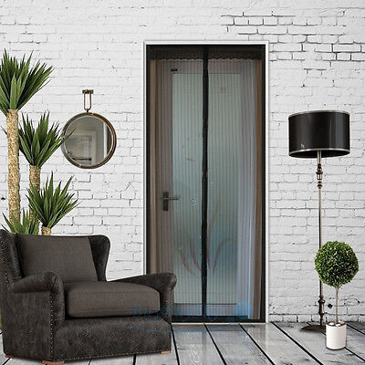 Hands Free Magic Mesh Screen Net Door with magnet Anti Mosquito Bug Curtainblack