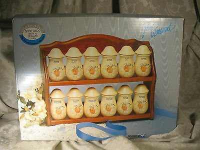 The French Country Collection Marmalade Wood Spice Rack 12 Ceramic Jars MIB
