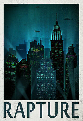 Rapture Retro Travel Poster Poster Print, 24x36