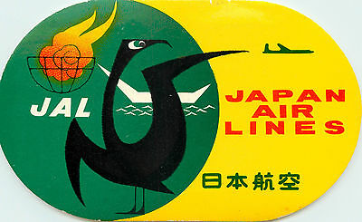 JAPAN AIRLINES - Vibrant Old ART DECO Luggage Label, c. 1955