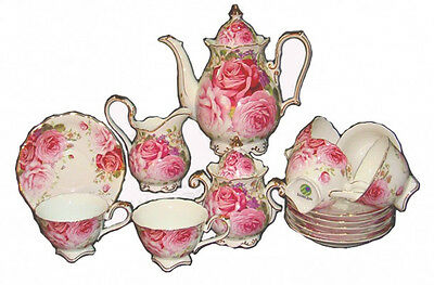 Fine Bone China Shabby Chic Cabbage Rose Teapot / Cup Saucer 15 Piece Set