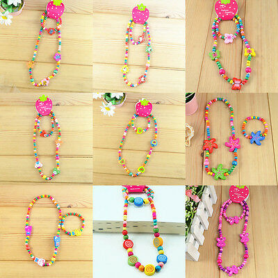 Wholesale lots 5 children wood bead necklace bracelet jewelry Sets For Her Party