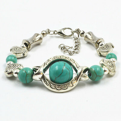 Vintage Tibetan Silver Plated Bracelet Turquoise Inlay Fish Bead Adjust Bangle