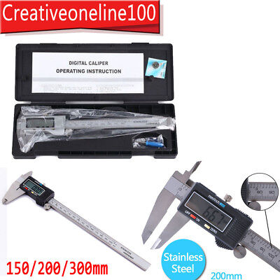 "6""/8""/10"" Stainless Digital LCD Vernier Caliper Gauge Micrometer Tool 150-300mm"
