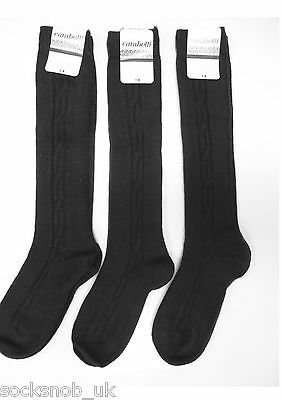 3 Pr Girls School Cable Knit Warm Knee High Socks 10-3 uk 7-11 Yrs) Brown
