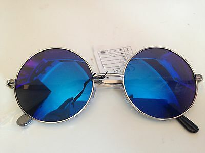 Unisex Silver Frame Iridium Mirrored Lenses John Lennon Type Round Sunglasses