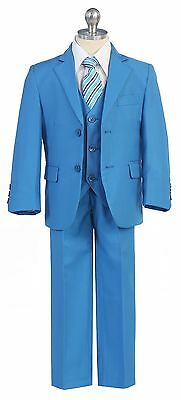Boy Toddler Kid Teen 5PC Wedding Formal Party French Blue Suit Tuxedo Vest  2-20
