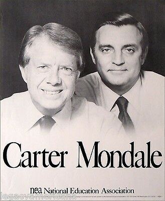1976 Carter Mondale Official NEA Teachers Union Jugate Campaign Poster (2298)
