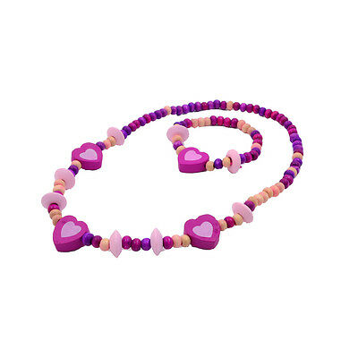 Wholesale1 Set Cute Girl's Pink Heart Wood Beads Necklace&Bracelet Jewelry Gift