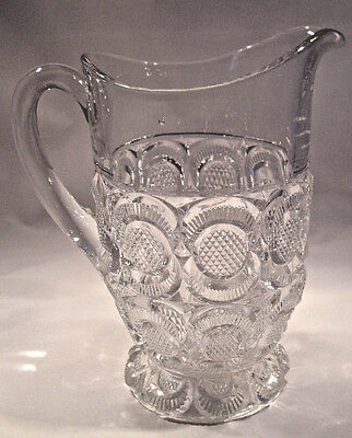 """EAPG Pitcher 9""""  Diamond Point Disc pattern 1890 made by Bryce Higbee Glass Co."""