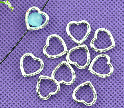50 New Love Heart Bead Frames 14x14mm Findings Accessories