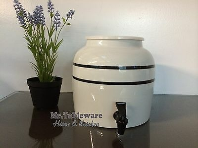 Water Crock Black Stripe Porcelain Ceramic Water Dispenser with Tomlinson Faucet