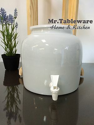 Water Crock Plain White Porcelain Ceramic Water Dispenser with Tomlinson Faucet