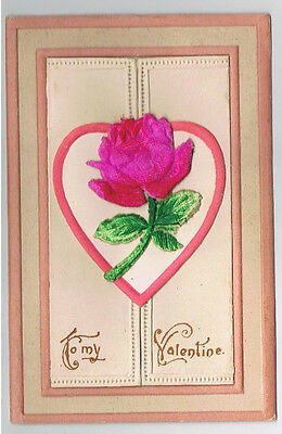 Vintage Old Circa 1910 Valentines Day Embossed Opening Postcard Heart Fuzzy Rose