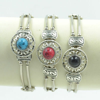 Adjust Bracelet  Woman Fashion Jewelry Tibetan Silver Pld Turquoise Bead Bangle