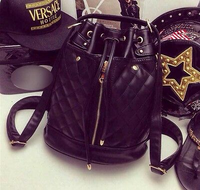 Classic Fashion Womens Black PU Quilted  Shoulder Bag Bucket