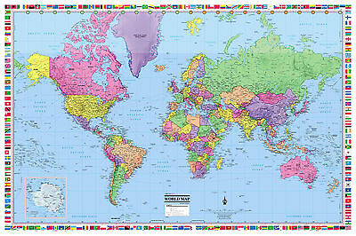 """World Wall Map Poster 36""""x24"""" with Flags Paper, Laminated - 2019"""