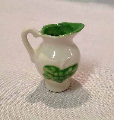 Miniature Pottery Pitcher Green Grapes Collectible