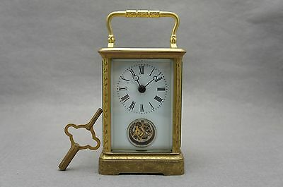 Hand Engraved Brass Tourbillon Carriage Clock with delicate leather box