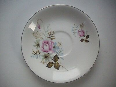 Alfred Meakin GLO-WHITE - Pale Pink Rose Pattern - Saucer - VGC - Retro/Vintage