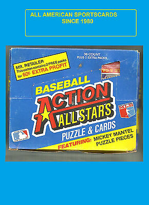 1983 Donruss Action All Stars box with Mickey Mantle puzzle piece 36packs/3cards