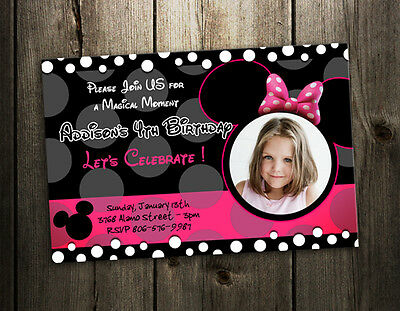 8 designs !! MINNIE MOUSE BIRTHDAY PARTY INVITATION black pink CARD INVITE b3