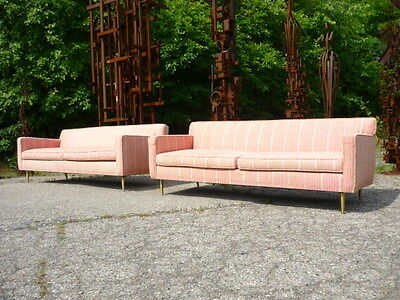 RARE Pair Edward Wormley Dunbar Brass Leg Sofas in Fortuny Tapa Upholstery