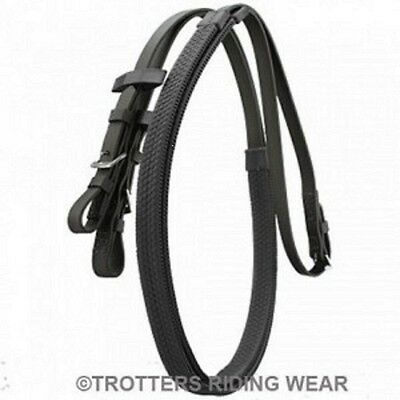 Rubber Grip Reins Size Pony Cob or Full, Leather Black or Brown