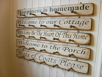 Coat Hooks large WOOD Art  Architectural Shabby Chic SIMPLY Wall HANGERS 5 pegs