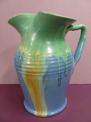 Signed Remued Drip Glaze Large Water Jug With Twig Handle / Australian Pottery