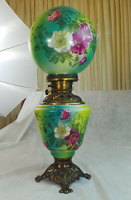 VINTAGE VICTORIAN STYLE GREEN PARLOR LAMP HAND PAINTED