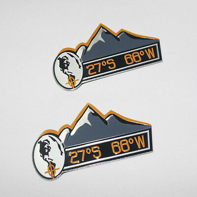 New 2pcs Aluminum foil MOUNTAIN 27°S 68°W Decal Emblem Sticker for Jeep Wrangler