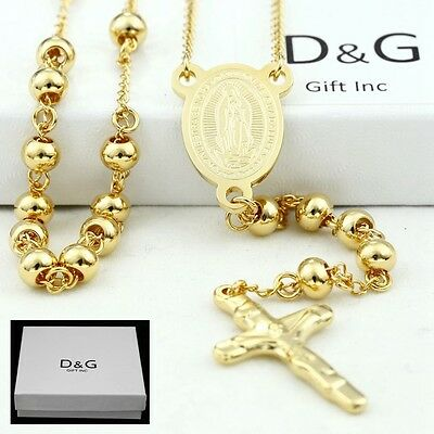"DG Stainless Steel Gold 25"" Beaded Rosary VIRGIN MARY+JESUS CROSS Necklace + BOX"