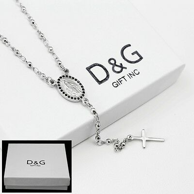 "DG Stainless Steel 18"" Beaded Rosary VIRGIN MARY+JESUS CROSS Necklace,Unisex BOX"