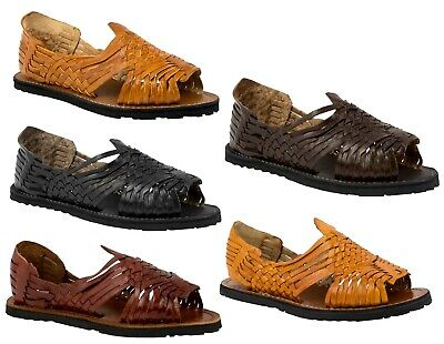 0d14e415c458 Mens Genuine Leather Huaraches Tough Mexican Western Slip On Sandals Rubber  Sole