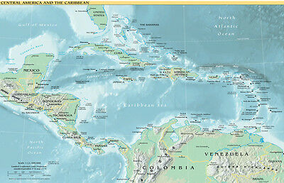 Map of Central America and the Caribbean (Political) Art Poster Print - 19x13