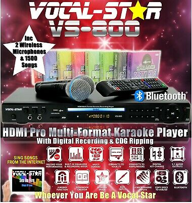Vocal-Star 800 Mega Deal Hdmi Cdg Karaoke Machine 2 Wireless Mics & 1200 Songs