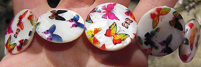 White Shell Beads Discs Multicolour Loose with Butterflies 25mm Pretty!