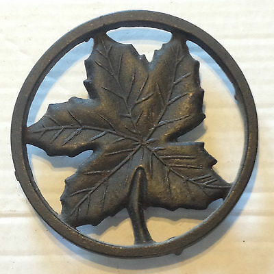 Vintage Cast Iron Trivet Maple Leaf 43 Round Coffee Stand Wall Hanging