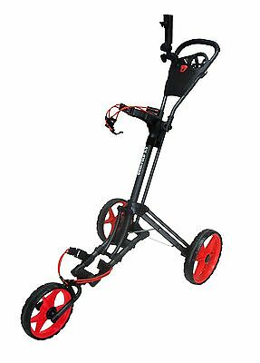 Founders 2016 Qwik Fold 3.5 3 Wheel Golf Push Pull Cart Trolley - Charcoal