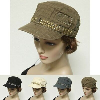 Studded French Round Bill Cadet Rock Military Stretch Caps Hats One Size Fit New