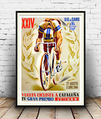 Ciclista a Cataluna  :  Vintage  Cycling advertising  Poster reproduction